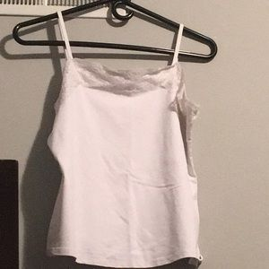 Tops - White Cami with Lace Trim. Size: L